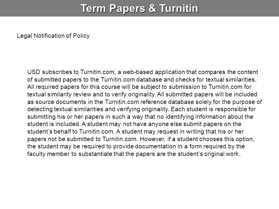 Term Papers & Turnitin