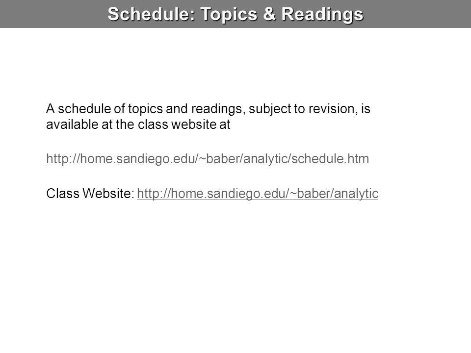 Schedule: Topics & Readings