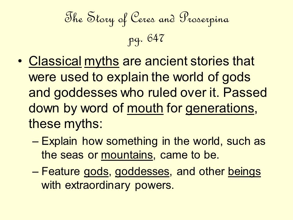 The Story of Ceres and Proserpina pg. 647