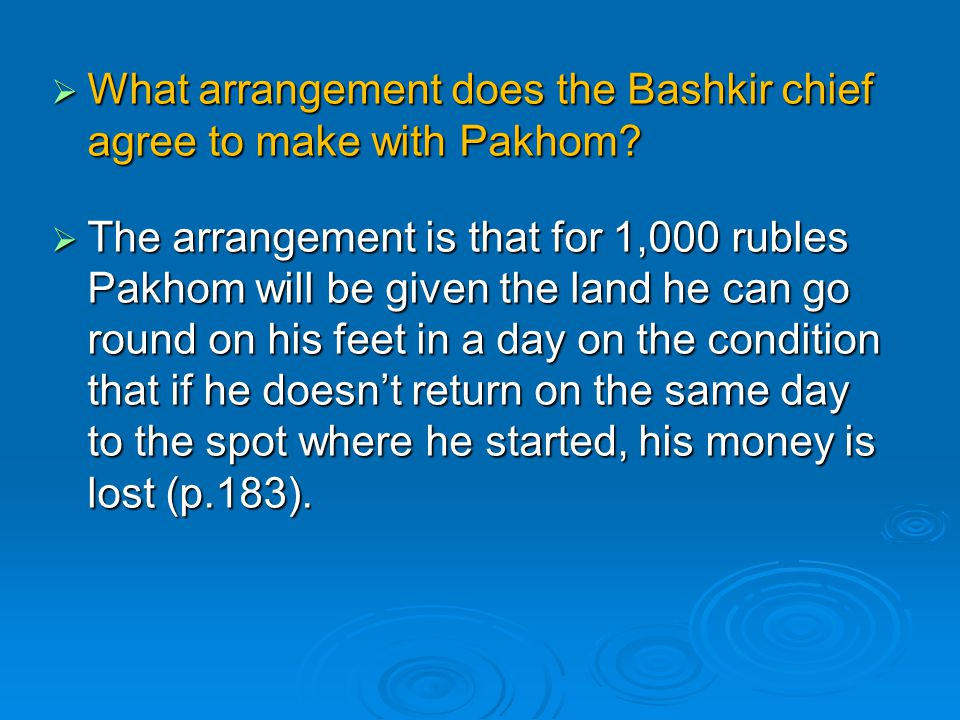 What arrangement does the Bashkir chief agree to make with Pakhom