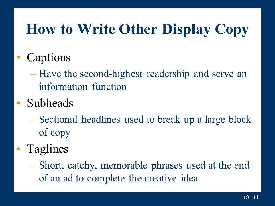 How to Write Other Display Copy
