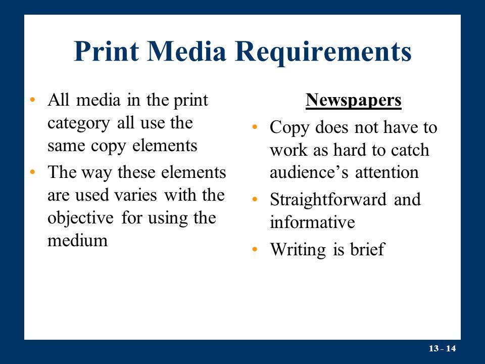 Print Media Requirements