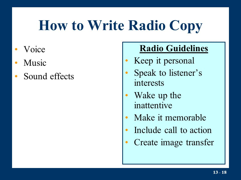 How to Write Radio Copy Voice Music Sound effects Radio Guidelines