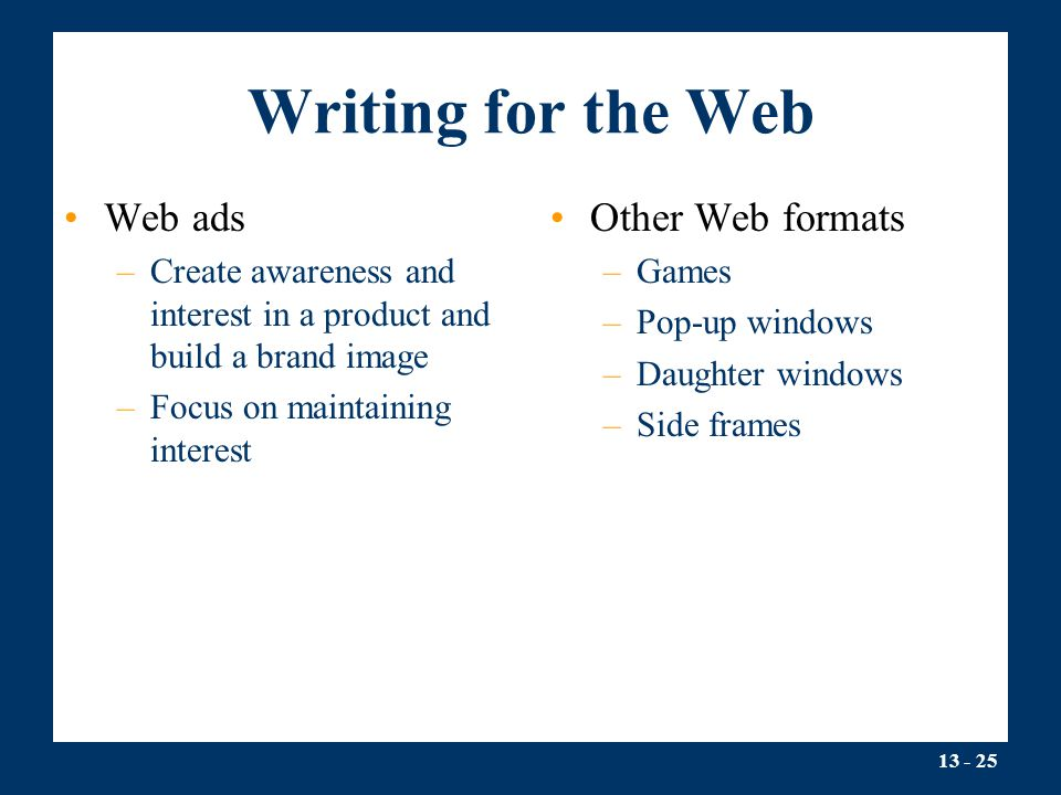 Writing for the Web Web ads Other Web formats