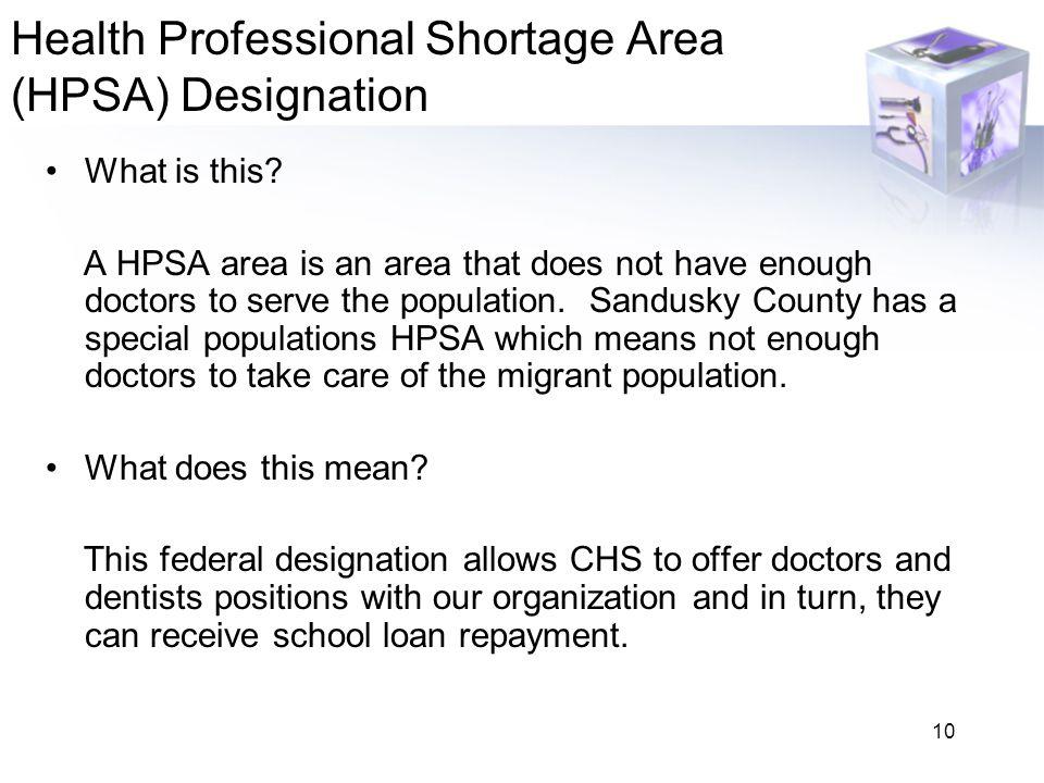 Health Professional Shortage Area (HPSA) Designation