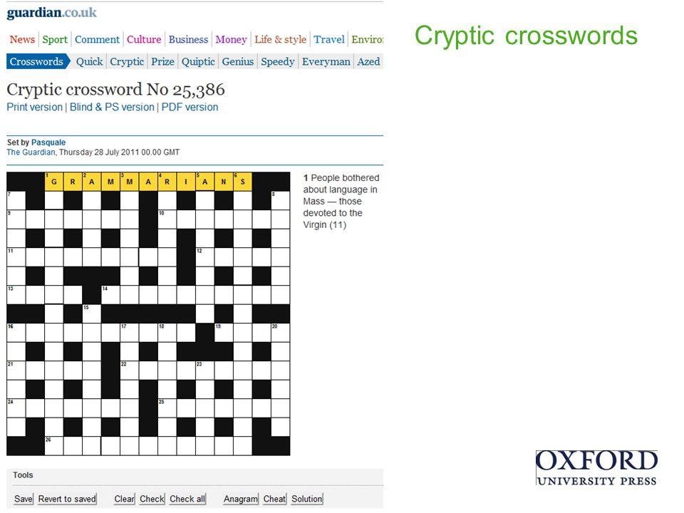 Cryptic crosswords