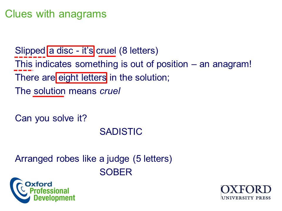 Clues with anagrams