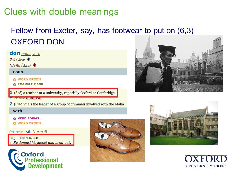 Clues with double meanings