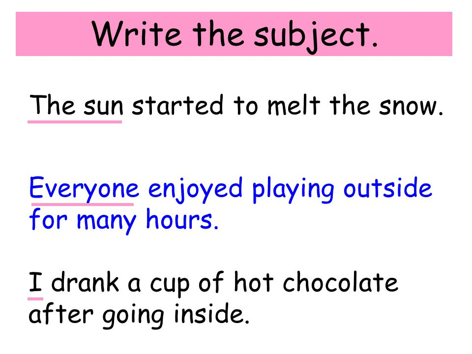 Write the subject. The sun started to melt the snow.