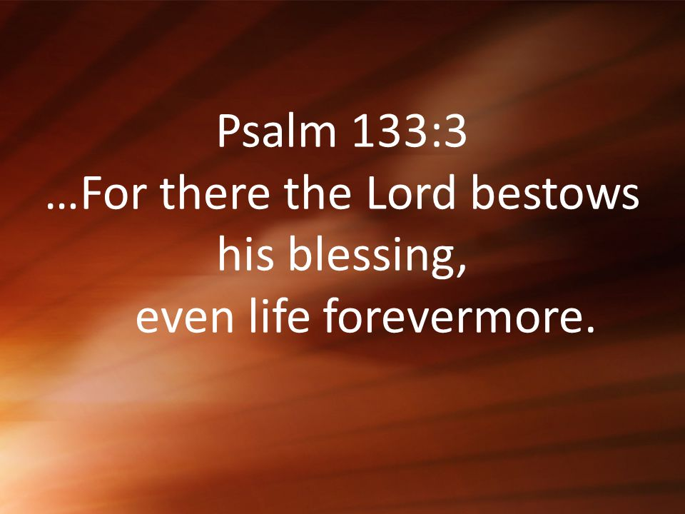 Psalm 133:3 …For there the Lord bestows his blessing, even life forevermore.