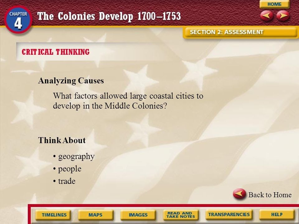 Analyzing Causes What factors allowed large coastal cities to develop in the Middle Colonies Think About.