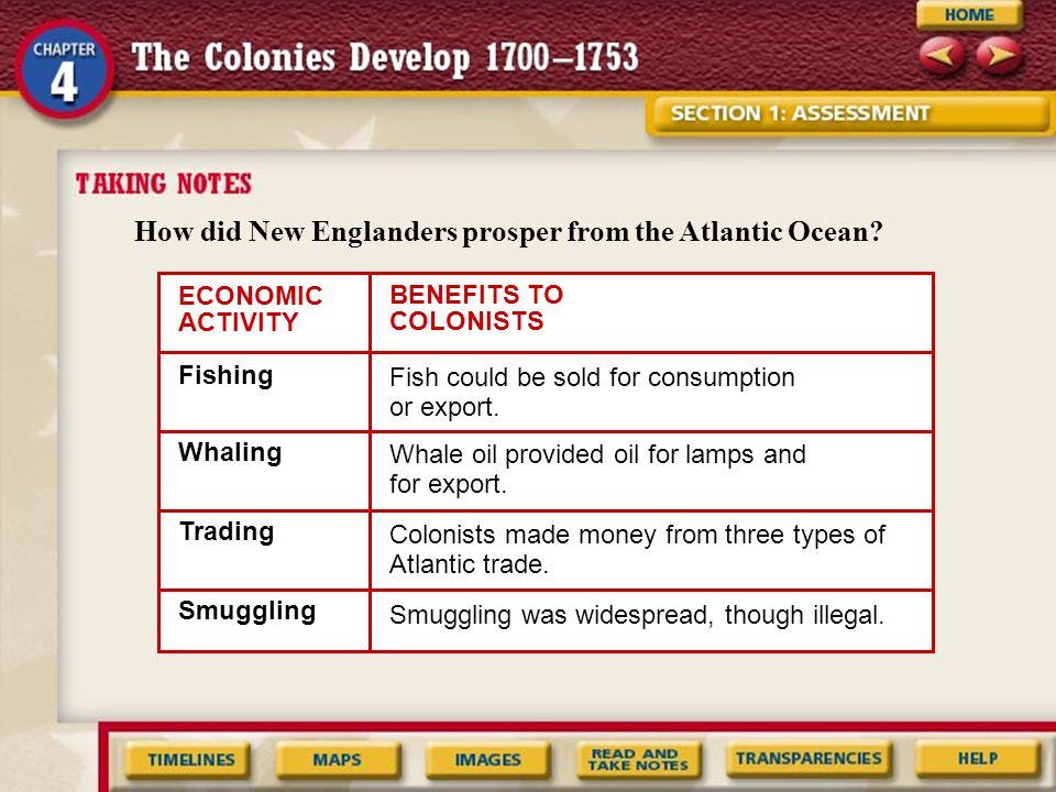 How did New Englanders prosper from the Atlantic Ocean