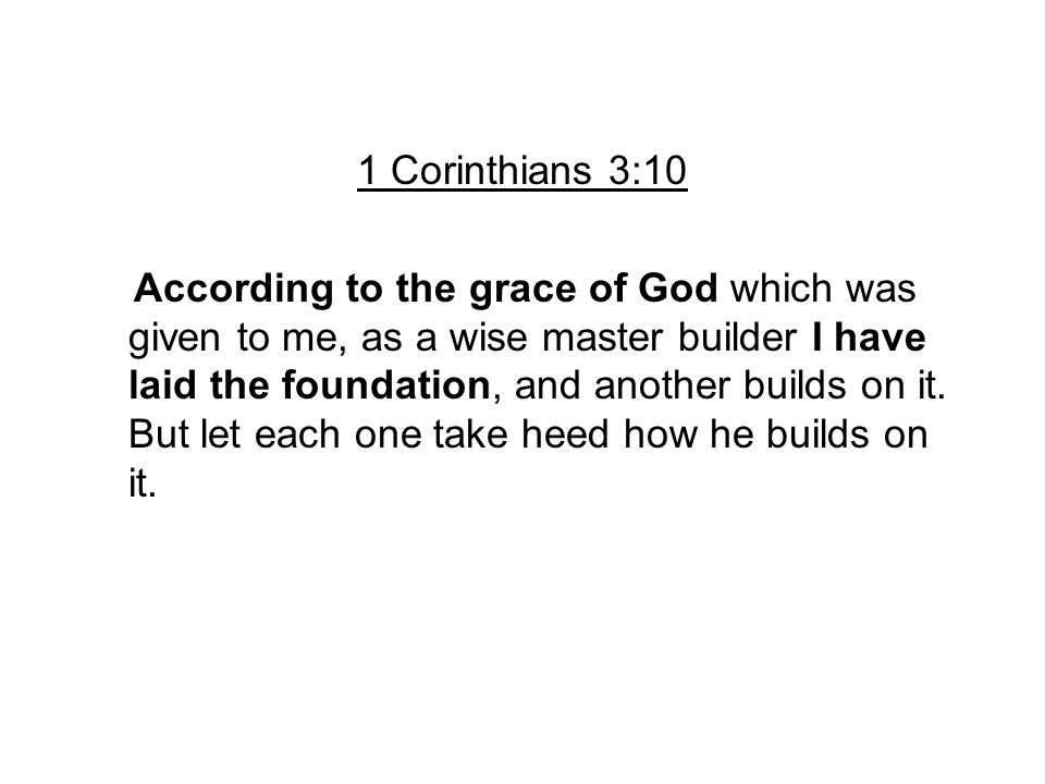 1 Corinthians 3:10