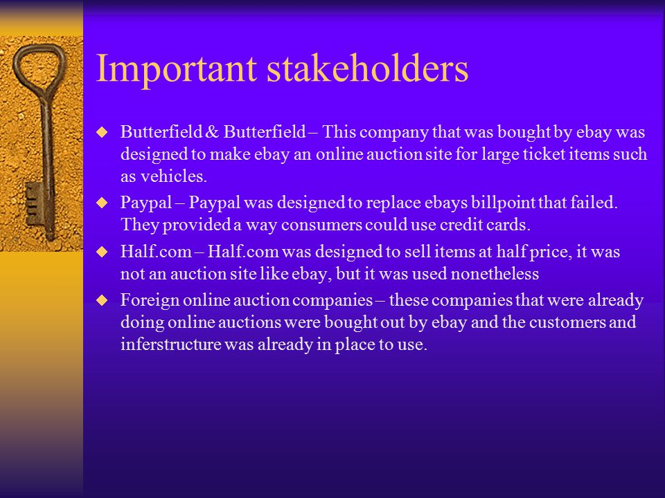 Important stakeholders