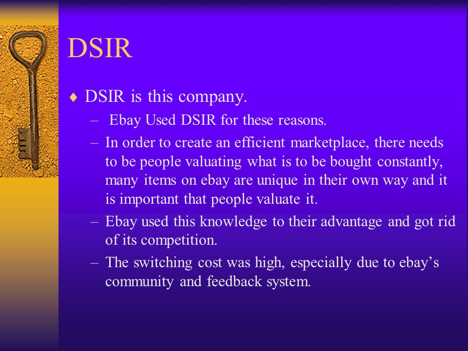 DSIR DSIR is this company. Ebay Used DSIR for these reasons.