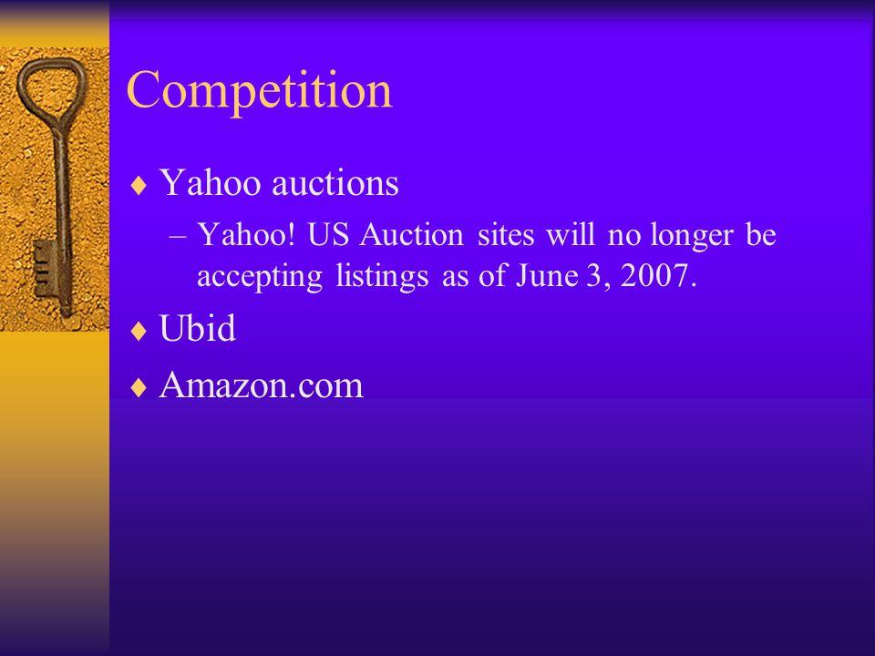 Competition Yahoo auctions Ubid Amazon.com