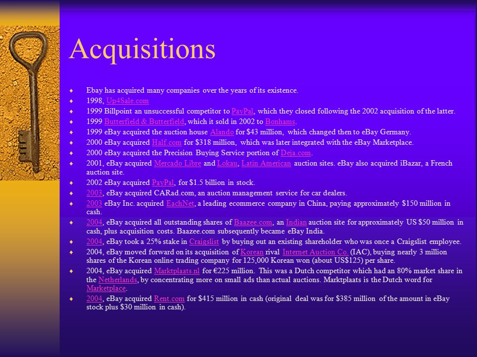 Acquisitions Ebay has acquired many companies over the years of its existence. 1998, Up4Sale.com.