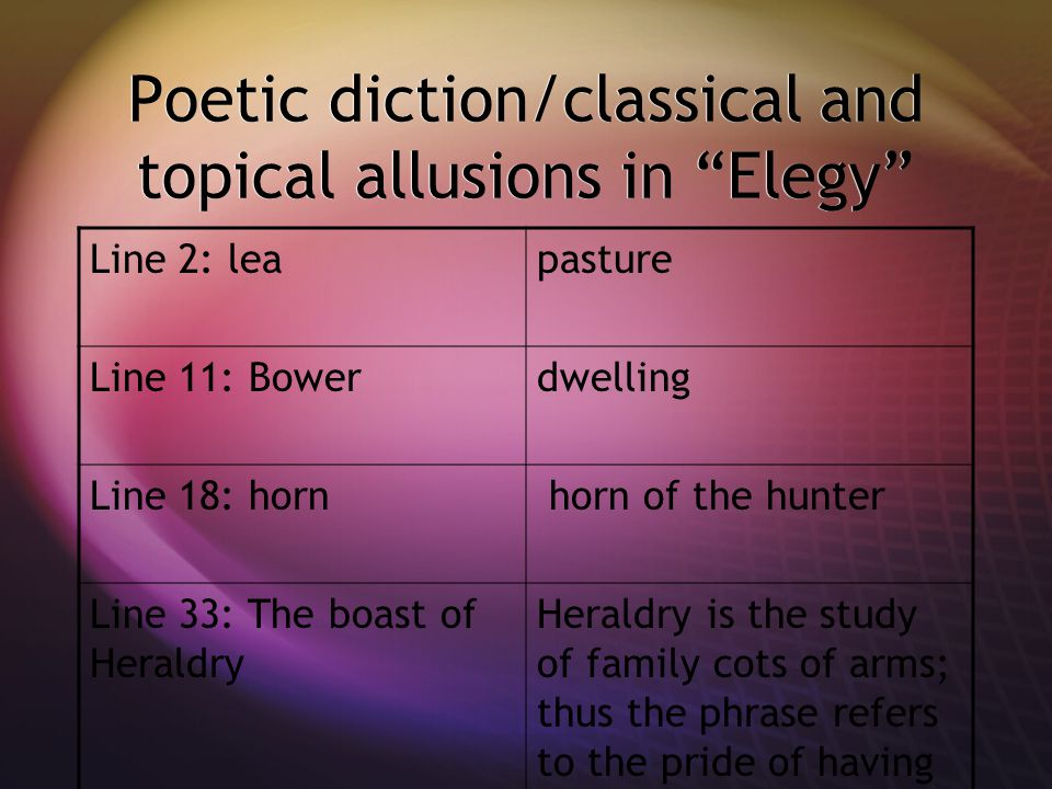 Poetic diction/classical and topical allusions in Elegy