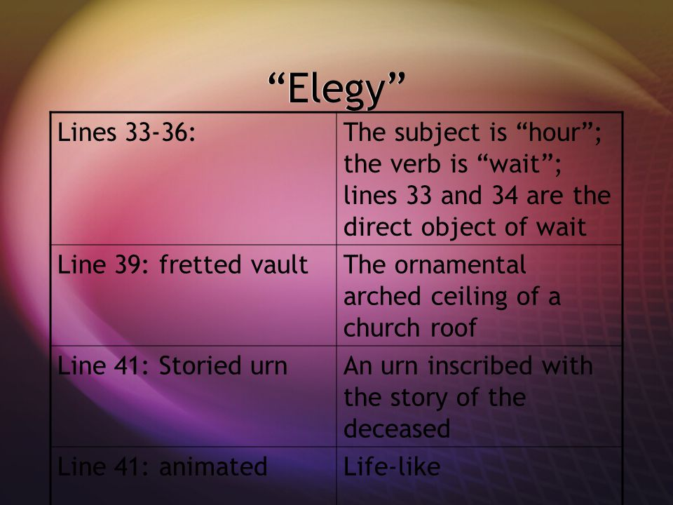 Elegy Lines 33-36: The subject is hour ; the verb is wait ; lines 33 and 34 are the direct object of wait.