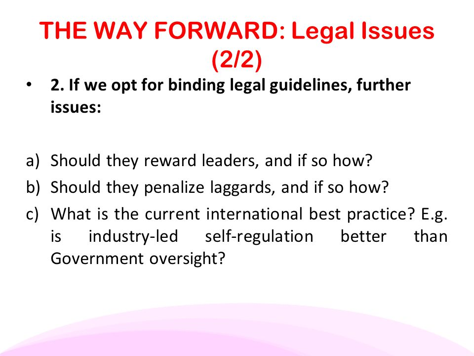 THE WAY FORWARD: Legal Issues (2/2)