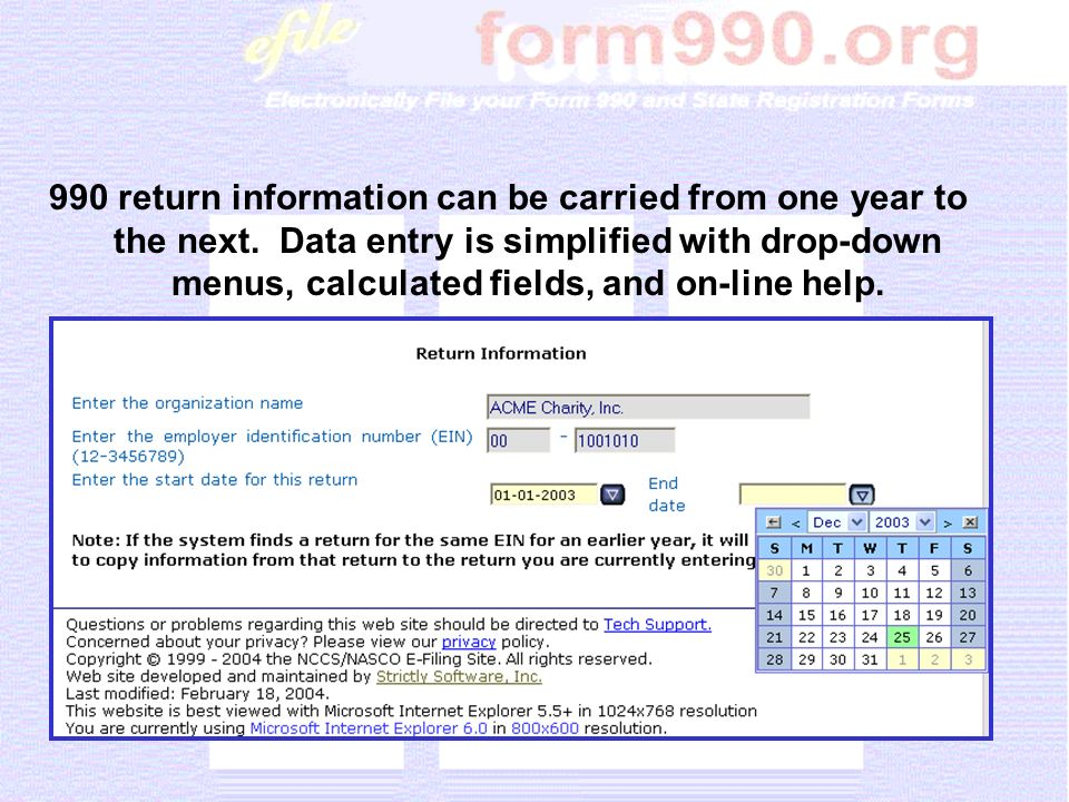 990 return information can be carried from one year to the next