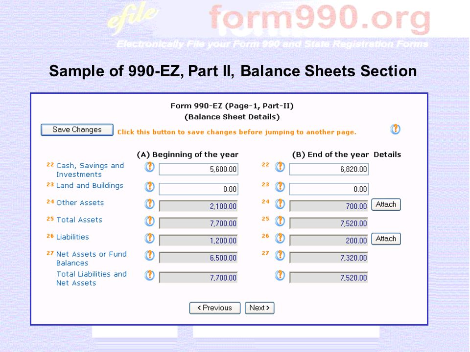 Sample of 990-EZ, Part II, Balance Sheets Section