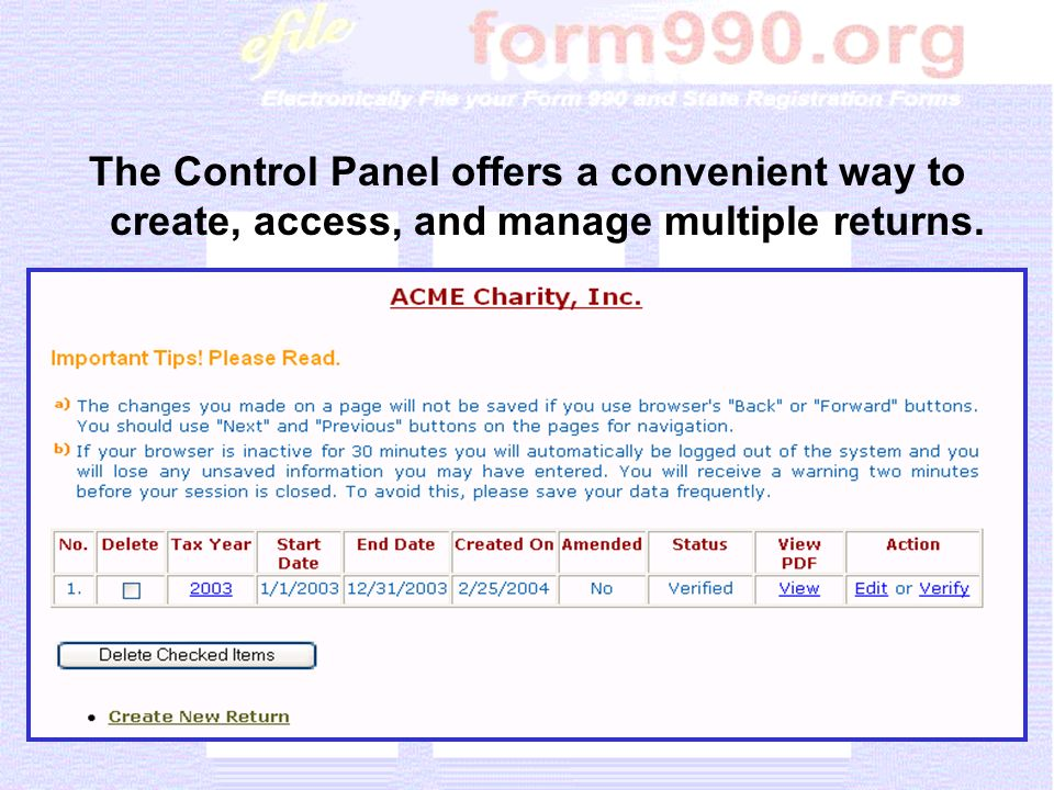 The Control Panel offers a convenient way to create, access, and manage multiple returns.