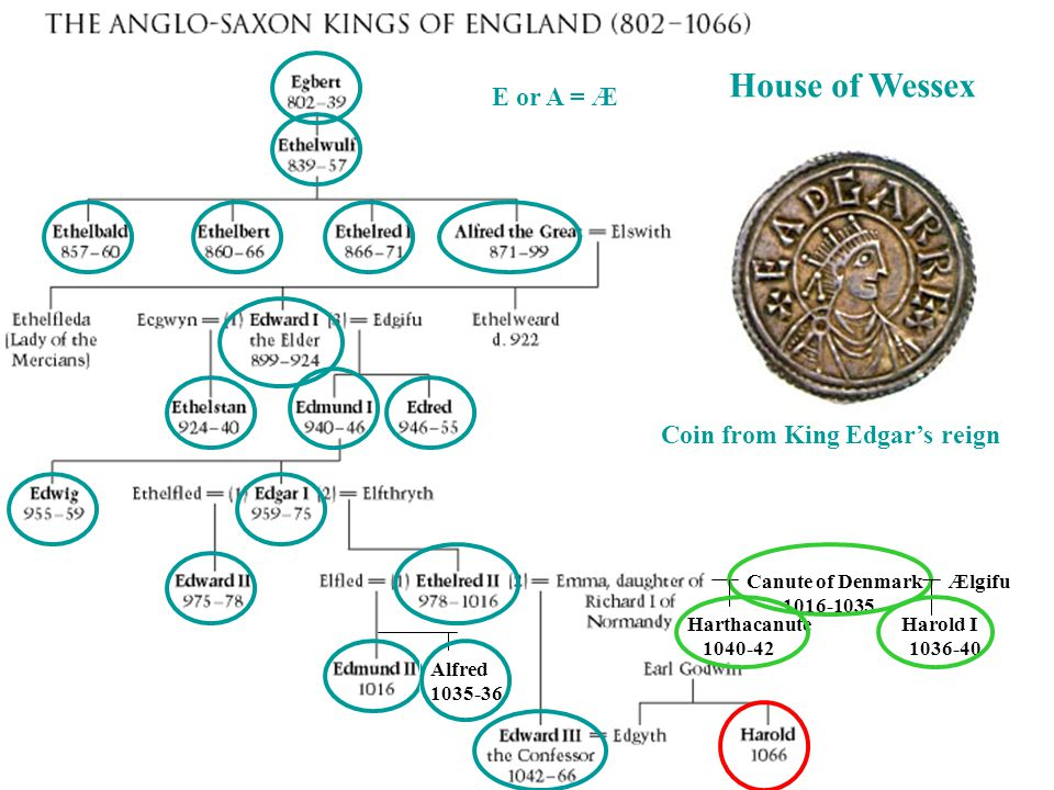 House of Wessex E or A = Æ Coin from King Edgar's reign