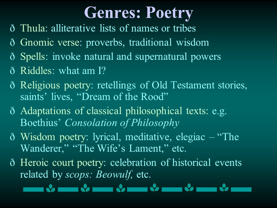 Genres: Poetry Thula: alliterative lists of names or tribes