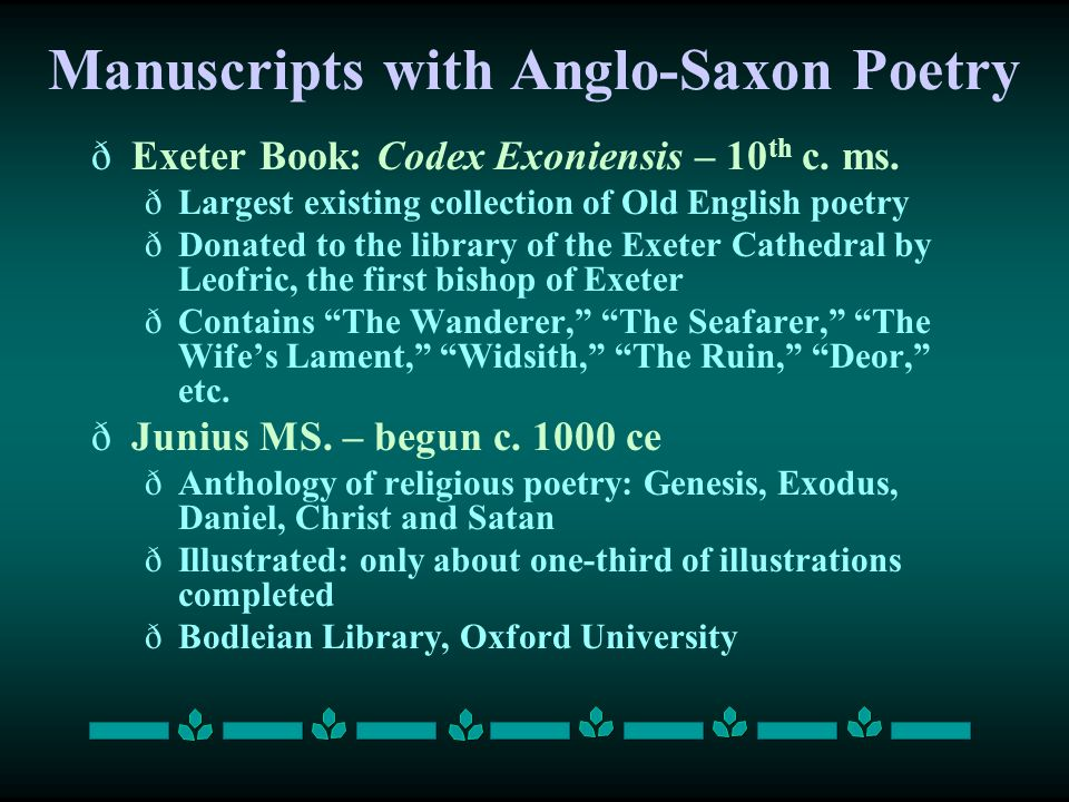 Manuscripts with Anglo-Saxon Poetry