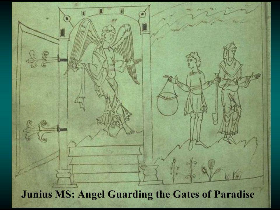 Junius MS: Angel Guarding the Gates of Paradise