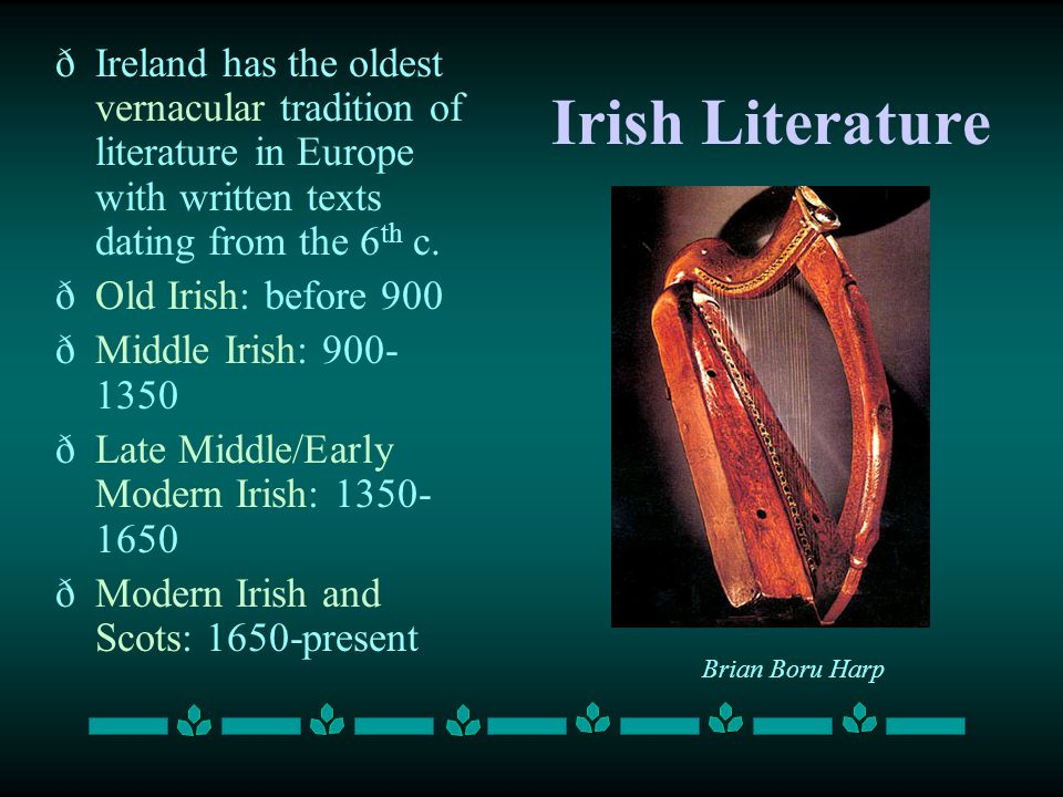 Ireland has the oldest vernacular tradition of literature in Europe with written texts dating from the 6th c.