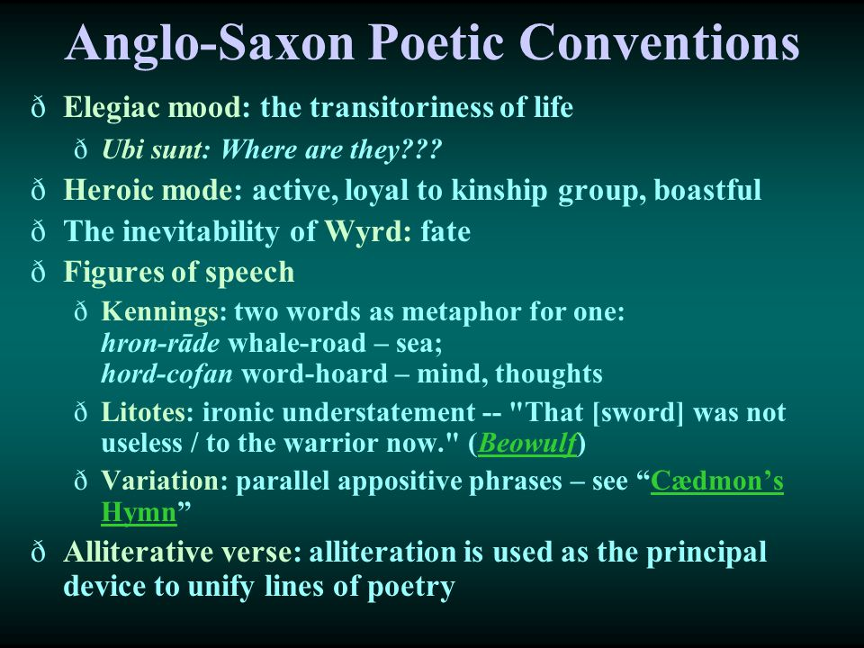 Anglo-Saxon Poetic Conventions