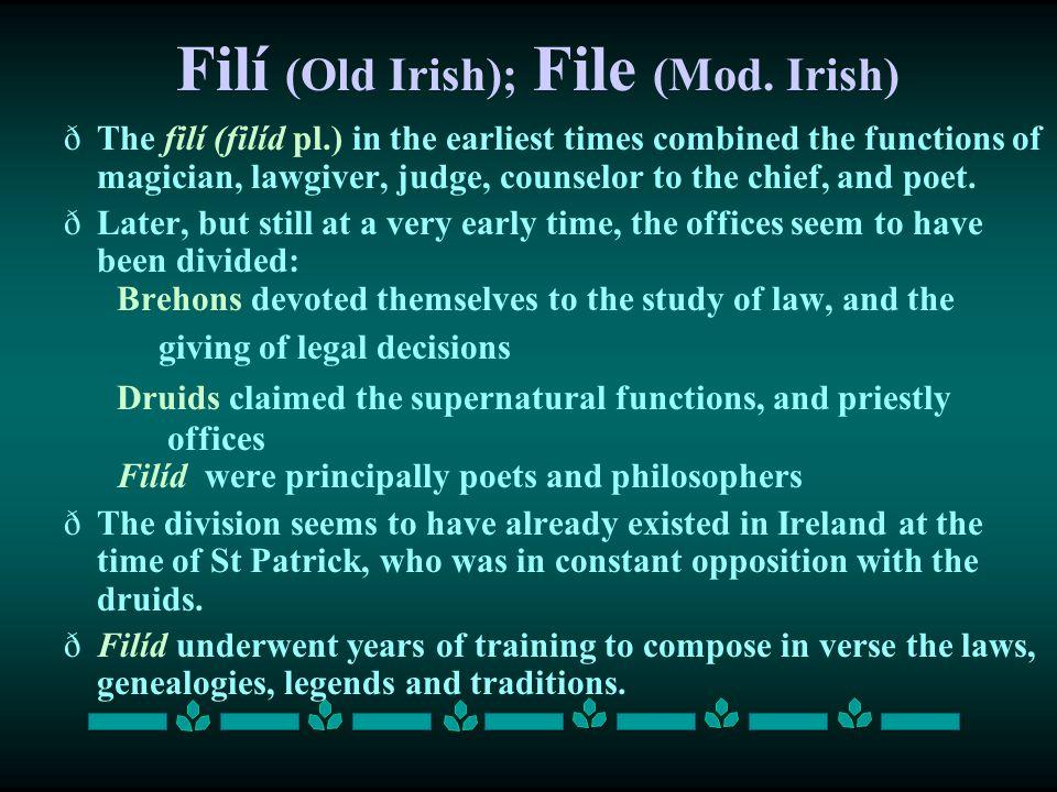 Filí (Old Irish); File (Mod. Irish)