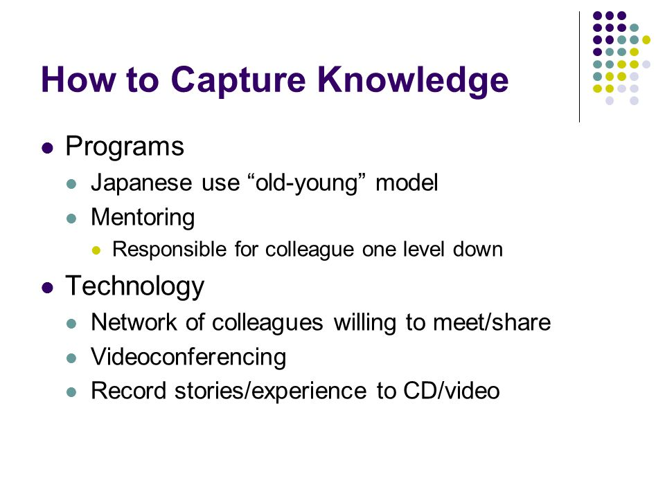 How to Capture Knowledge