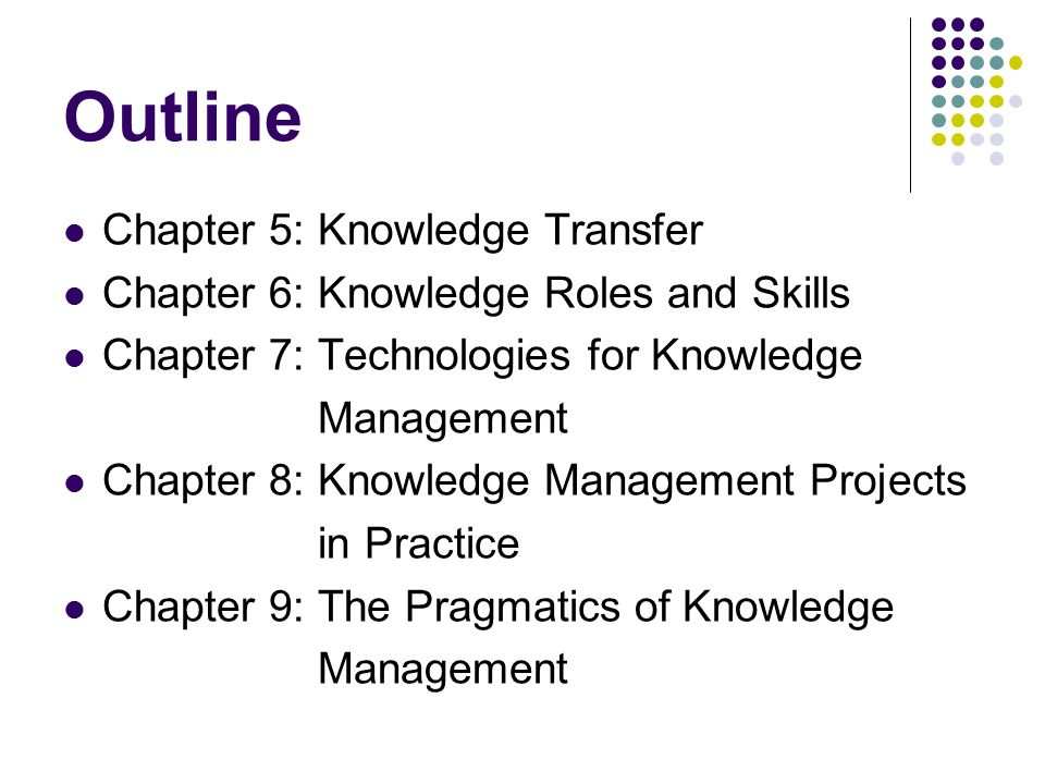 Outline Chapter 5: Knowledge Transfer