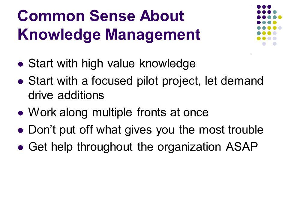 Common Sense About Knowledge Management