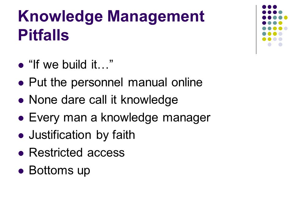 Knowledge Management Pitfalls