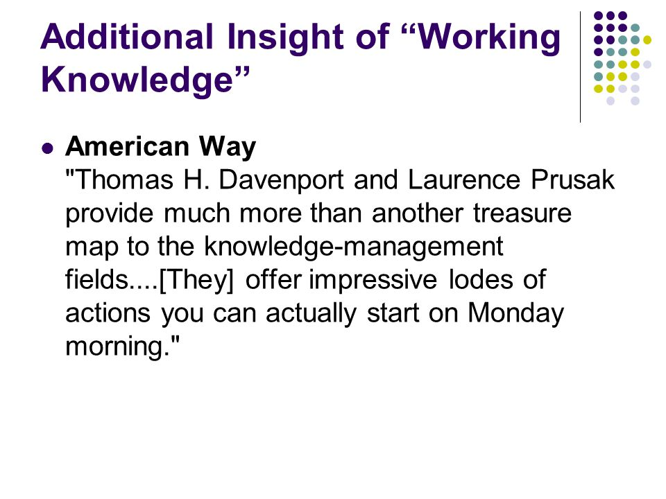 Additional Insight of Working Knowledge