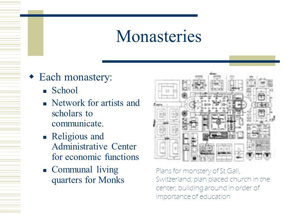 Monasteries Each monastery: School