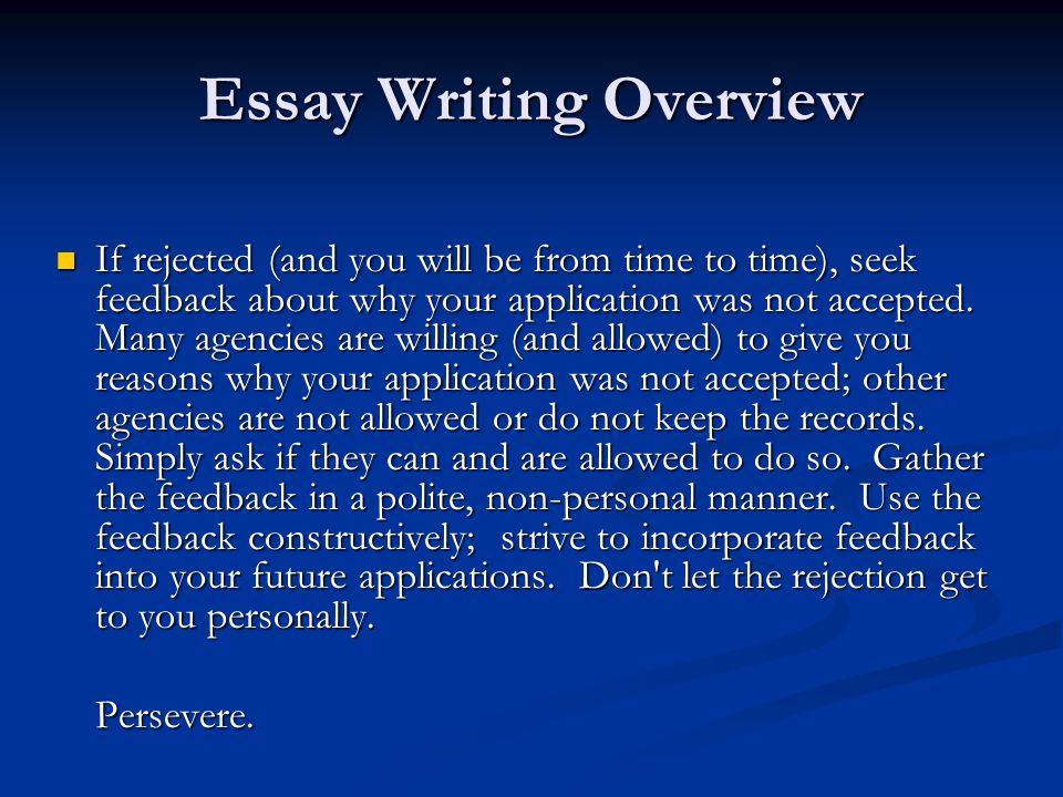 incorporate feedback into essay Turning interviews into first-person essays  once you have that transcript, you are ready to begin editing it into a first-person essay in the.