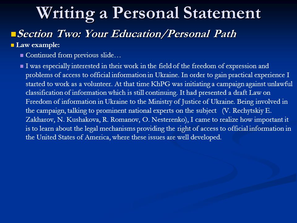 Writing a Personal Statement