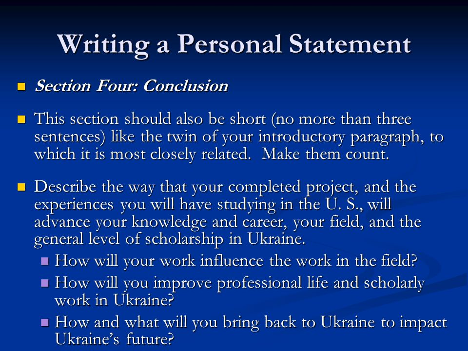 the conclusion paragraph of a personal statement should apex