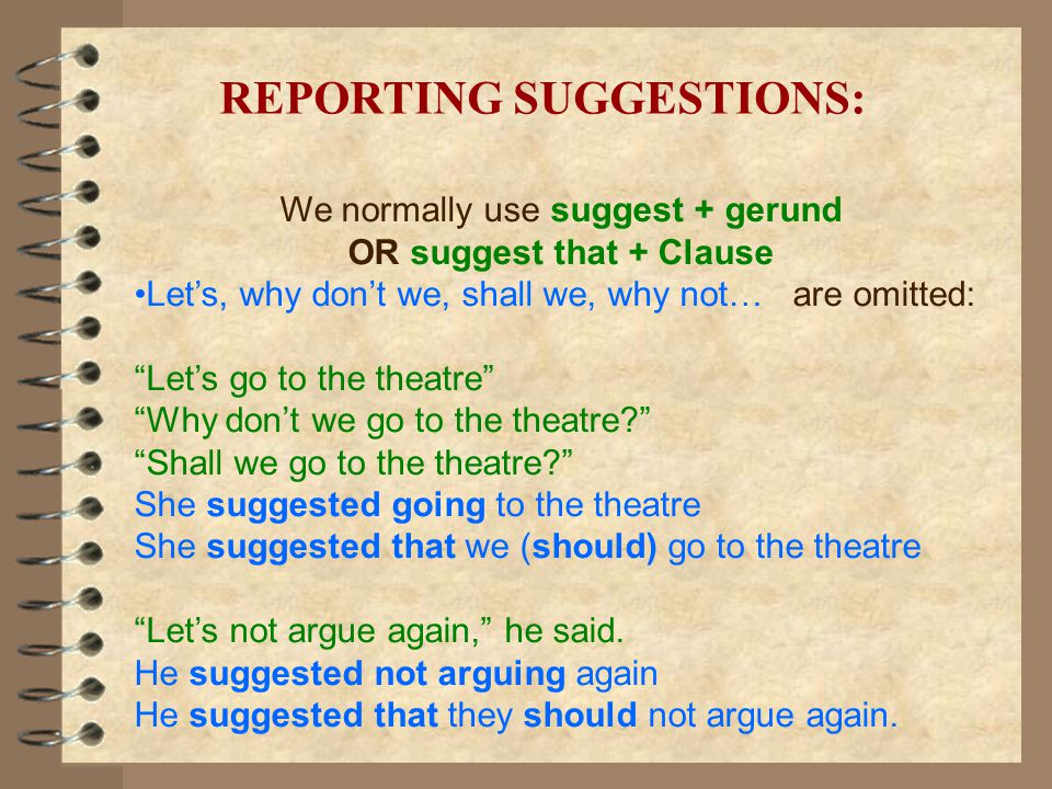 REPORTING SUGGESTIONS: