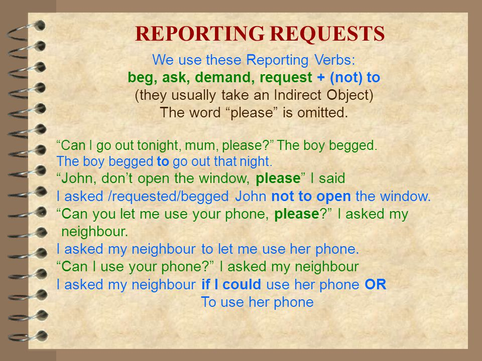 beg, ask, demand, request + (not) to