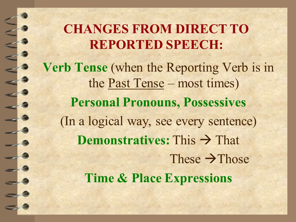 CHANGES FROM DIRECT TO REPORTED SPEECH: