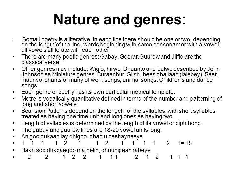 Nature and genres: