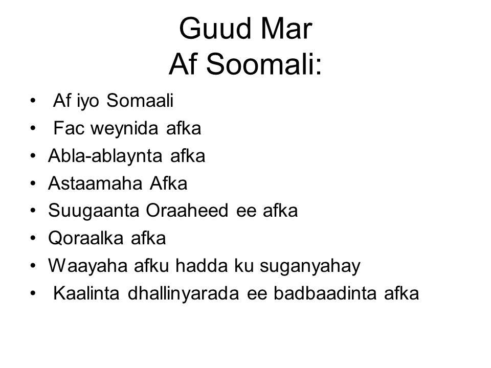 Guud Mar Af Soomali: Af iyo Somaali Fac weynida afka