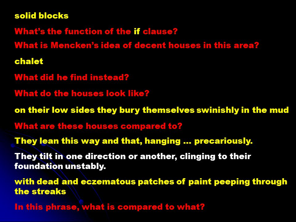 solid blocks What's the function of the if clause What is Mencken's idea of decent houses in this area