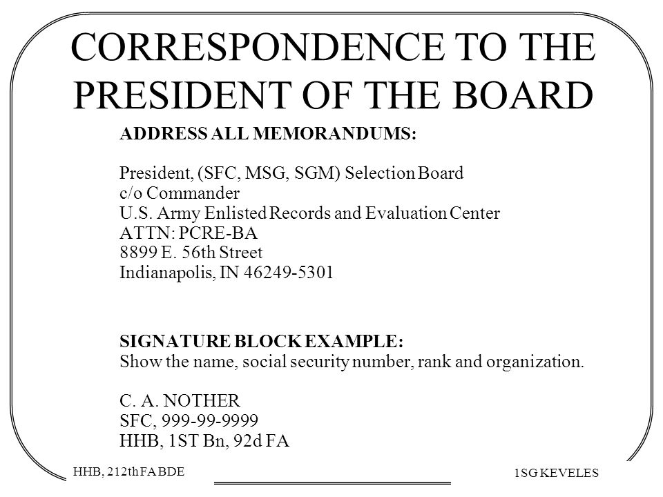 CORRESPONDENCE TO THE PRESIDENT OF THE BOARD